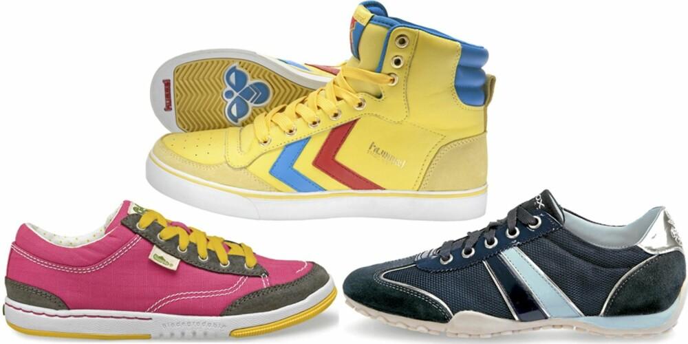 FRA VENSTRE: Simple Shoes (kr 700), Hummel (kr 900), Geox (kr 999).
