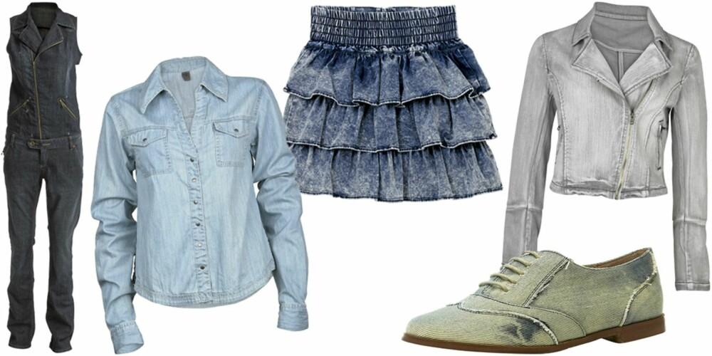 FRA VENSTRE: Buksedress fra JSFN (kr 499), skjorte fra Vero Moda (kr 299,95), skjørt fra H&M (kr 249), sko fra Topshop (kr 410), jakke fra Cubus (kr 399).