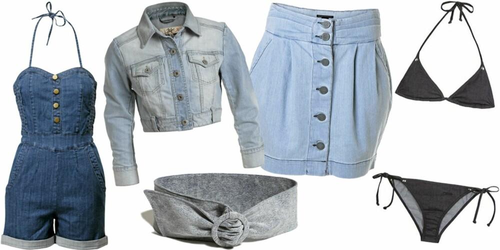 FRA VENSTRE: Playsuit fra H&M (kr 299), jakke fra Ellos (kr 399), belte fra Lindex (kr 99), skjørt fra Mango (kr 349), bikini fra Chloé Mare (kr 1236).