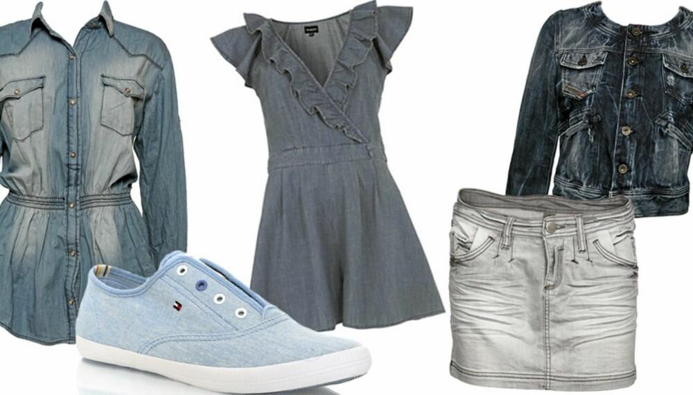 FRA VENSTRE: Skjorte fra Mango (kr 499), sko fra Hilfiger Denim (kr 599), kjole fra Warehouse (kr 410), skjørt fra Vero Moda (kr 299,95), jakke fra Diesel (kr 1399).
