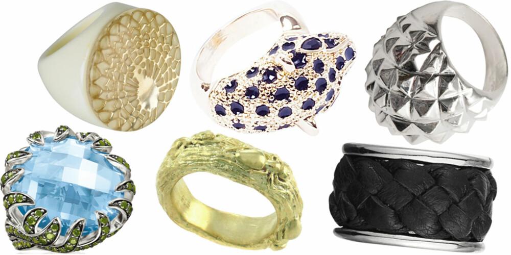 FRA VENSTRE: Thomas Sabo (kr 2498), Bik Bok (kr 49), Bjørg Jewellery (kr 1600), Glitter (kr 89,90), Dyrberg/Kern (kr 675), JC (kr 39,90).