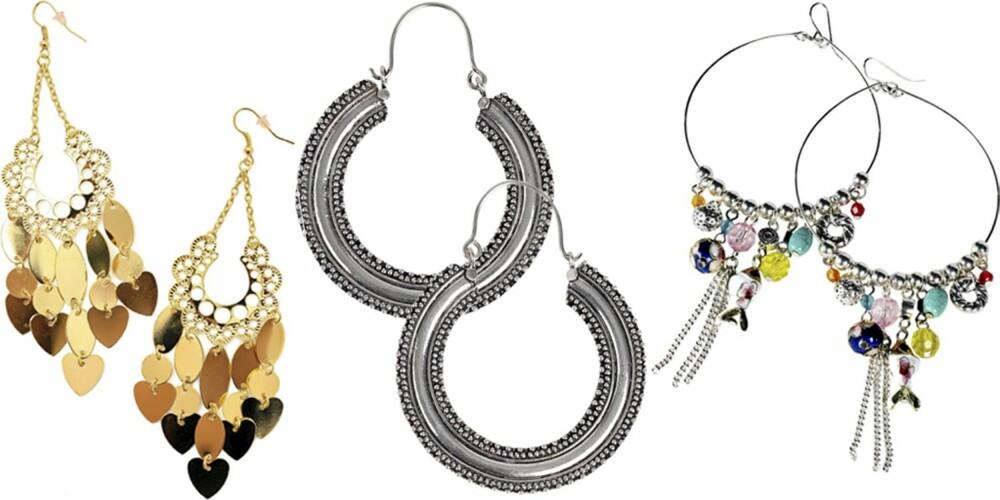 FRA VENSTRE: Nelly Accessories (kr 59), Indiska (kr 149), Ellos (kr 79,50).