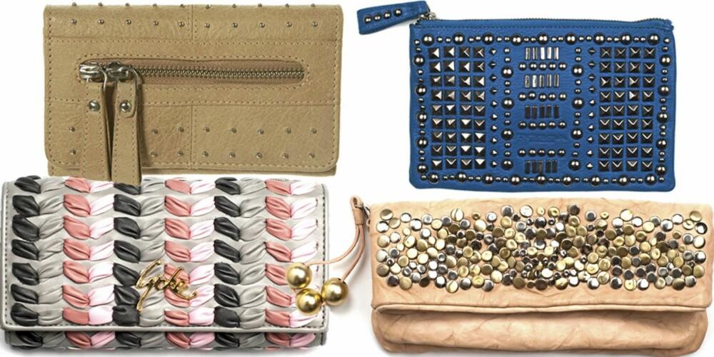 FRA VENSTRE: Grå og rosa fra Lycke (kr 399), beige fra Topshop (kr 275), rosa clutch fra Marlene Birger (kr 2499), blå fra Tosca Blu (kr 750).