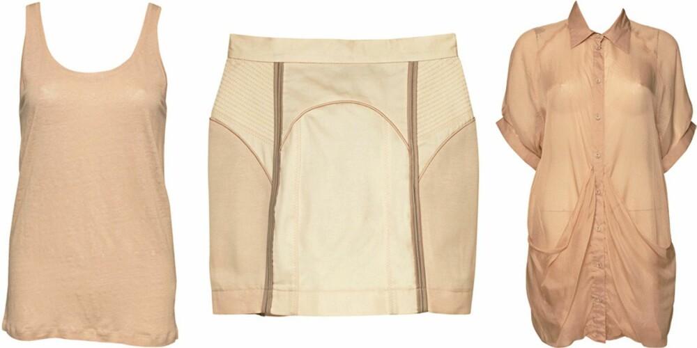 FRA VENSTRE: topp fra Filippa K (kr 595), skjørt fra H&M (kr 349), skjorte fra Gestuz (kr 1099).