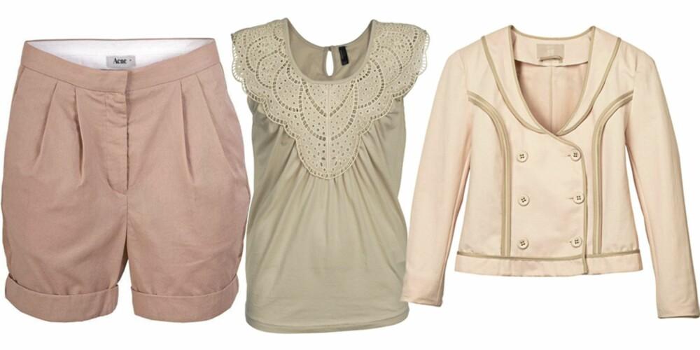 FRA VENSTRE: Shorts fra Acne (kr 1000), topp fra Vero Moda (kr 179,95), jakke fra H&M (kr 499).