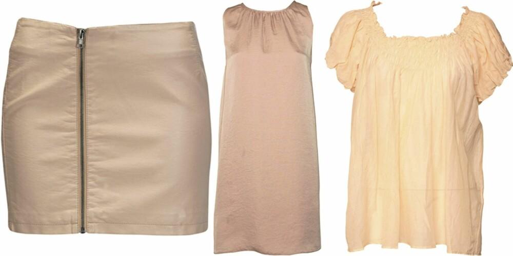 FRA VENSTRE: Skjørt fra Ellos (kr 299), kjole fra Dagmar (kr 2195), topp fra Day Birger et Mikkelsen (kr 999).