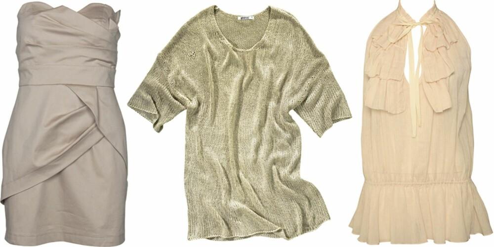 FRA VENSTRE: Kjole fra Vila (kr 349,95), genser fra Gina Tricot (kr 249), topp fra Marlene Birger (kr 179,95).