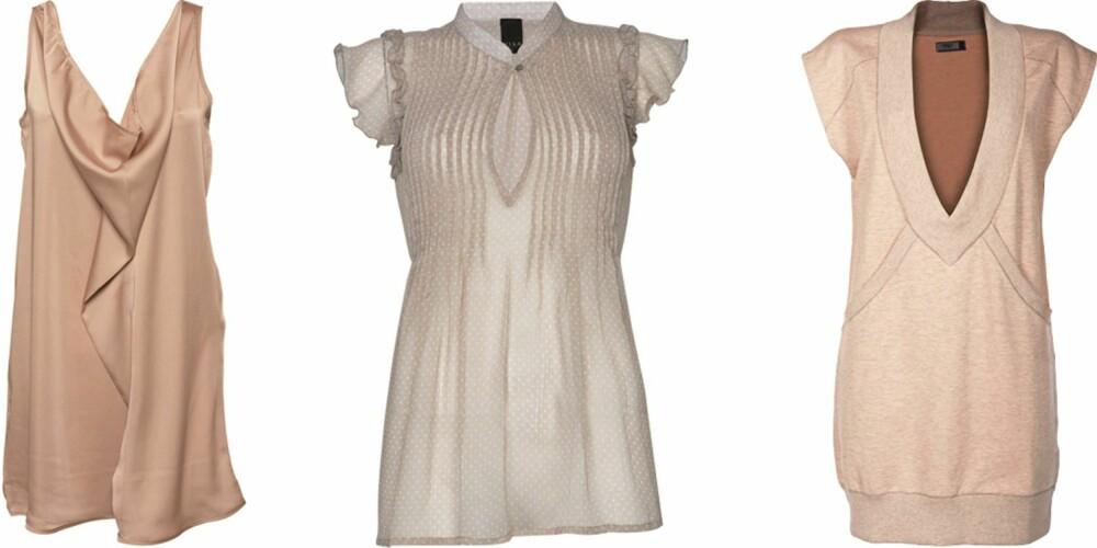 FRA VENSTRE: Kjole fra Modström (kr 599), topp fra Vila (kr 249,95), kjole fra Only (kr 259,95).