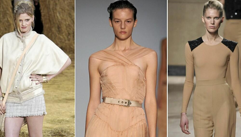 PÅ CATWALKEN: Chanel, Alberta Feretti og Celine viste alle klær i nude.