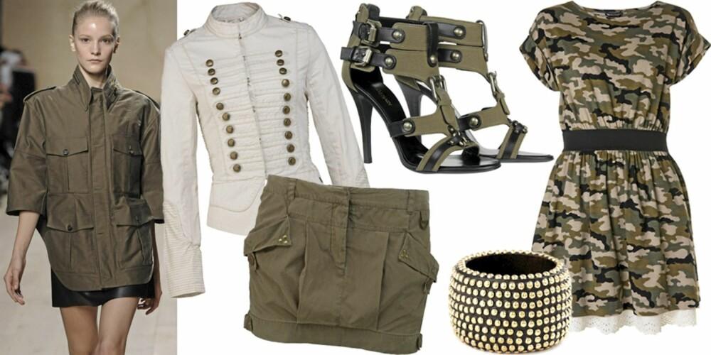 FRA VENSTRE: På catwalken til Celine, jakke fra Pepe Jeans (kr 1299), skjørt fra Pepe Jeans (kr 499), sko fra Balmain/MyTheresa.com (kr 7600), armbånd fra Lindex (kr 129), kjole fra Mango (kr 499).