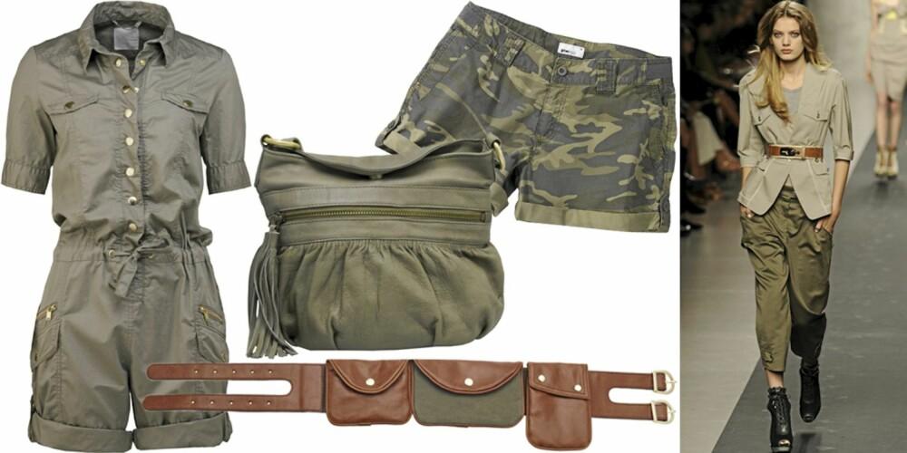 FRA VENSTRE: Shortsdress fra InWear (kr 1199), belte fra H&M (kr 199), veske fra Warehouse (kr 549), shorts fra Gina Tricot (kr 199), på catwalken til Sportmax.