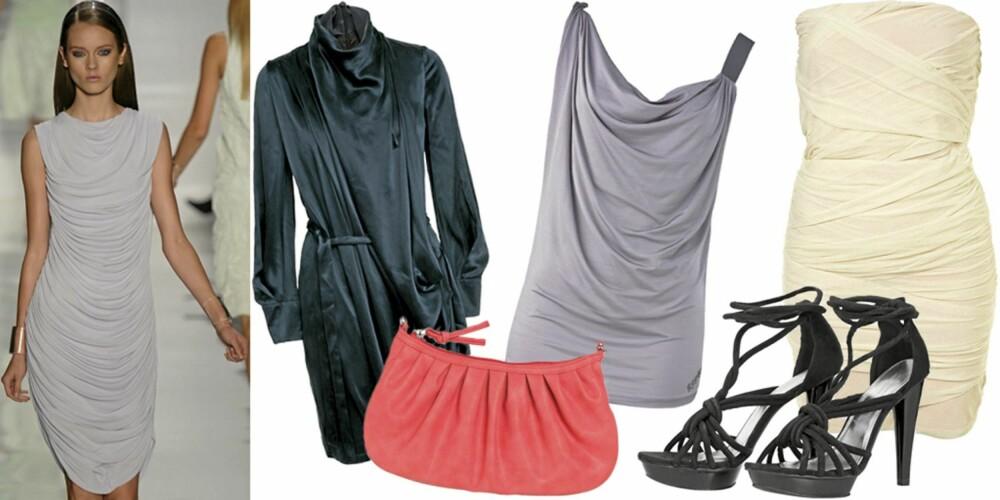 FRA VENSTRE: På catwalken til Michael Kors, kjole fra Stine Goya (kr 3200), veske fra Pieces (kr 149), topp fra Replay (kr 1099), sko fra H&M (kr 399), kjole fra Topshop (kr 399).