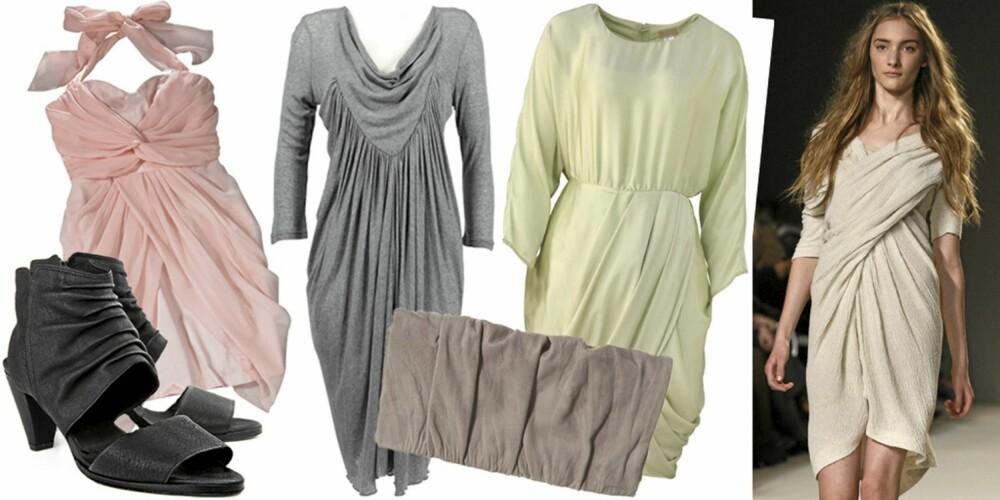 FRA VENSTRE: Sko fra Hope (kr 2899), kjole fra Gina Tricot (kr 399), kjole fra InWear (kr 699), veske fra Topshop (kr 139), kjole fra H&M (kr 399), på catwalken til Chloé.