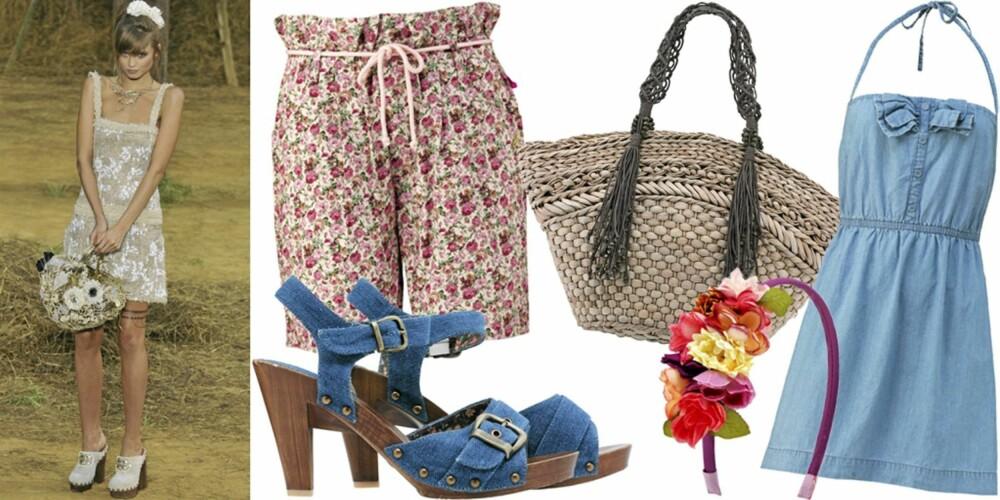 FRA VENSTRE: På catwalken til Chanel, shorts fra Jonny Leave Home (kr 349), sko fra Ellos (kr 399), stråveske fra Mexx (kr 499), hårbøyle fra H&M (kr 99), kjole fra Crocker (kr 399).