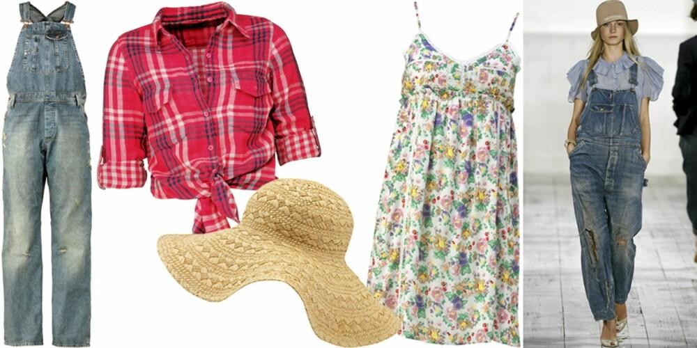 FRA VENSTRE: Snekkerbukse fra H&M (kr 399), skjorte fra Cubus (kr 299), stråhatt fra H&M (kr 79), kjole fra JC (kr 249), på catwalken til Ralph Lauren