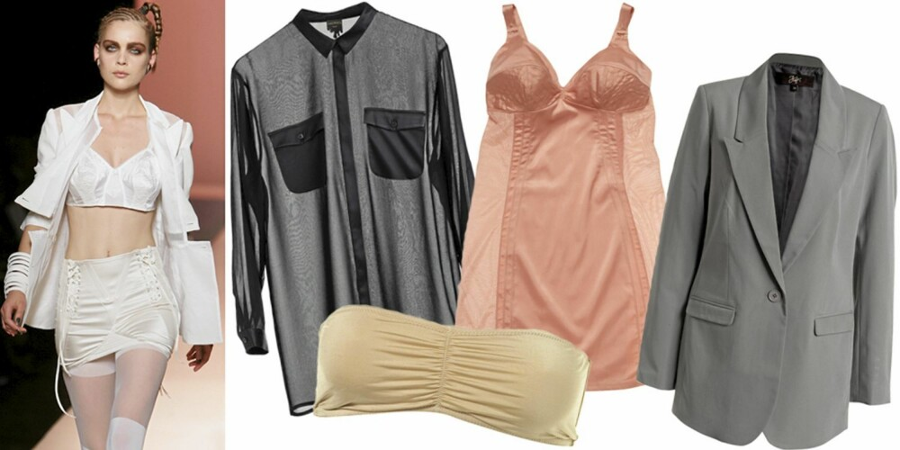 FRA VENSTRE: På catwalken til Jean Paul Gaultier, transparent skjorte fra Monki (kr 350), topp fra Topshop (kr 89), underkjole fra Lindex (kr 249), blazer fra Ellos (kr 399).