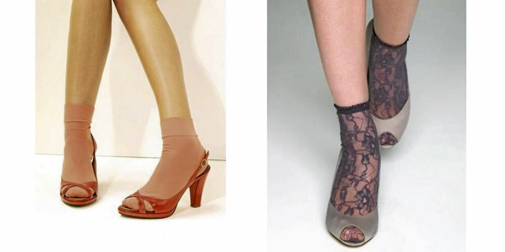 FINE SOKKER: Trendy sokker som passer perfekt til åpne sko og sandaler fra Jonathan Aston. Koster kr 40 og kr 60.