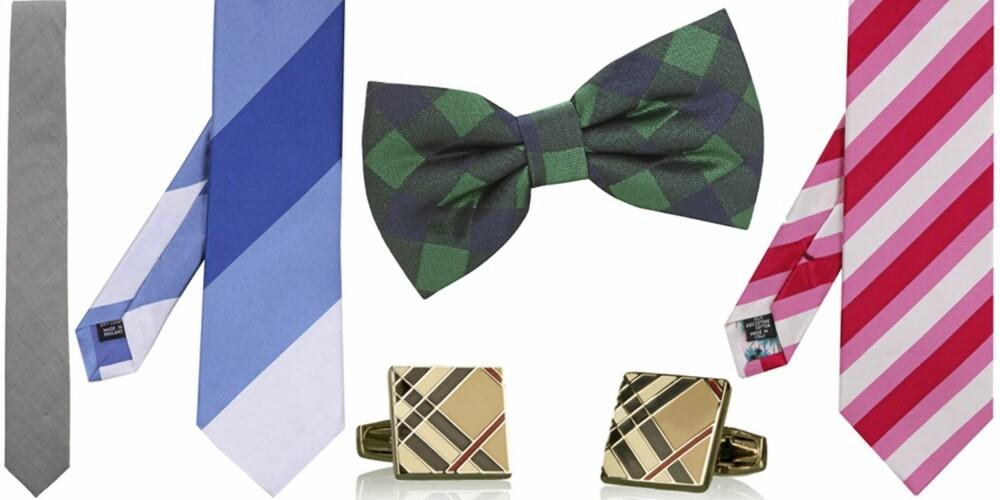 FRA VENSTRE: Slips fra Ljung (kr 299), slips fra Richard James (kr 685), mansjetter fra Burberry (kr 775), sløyfe fra Dr. Denim (kr 149), slips fra Paul Smith (kr 592).