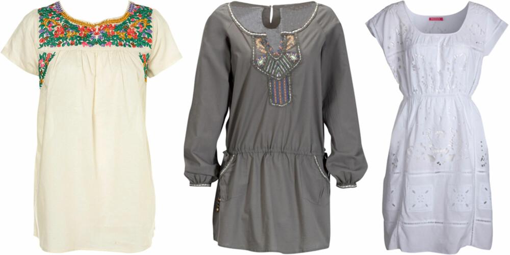 FRA VENSTRE: Topshop (kr 232), Pepe Jeans (kr 899), Jade Jagger for Indiska (kr 795).