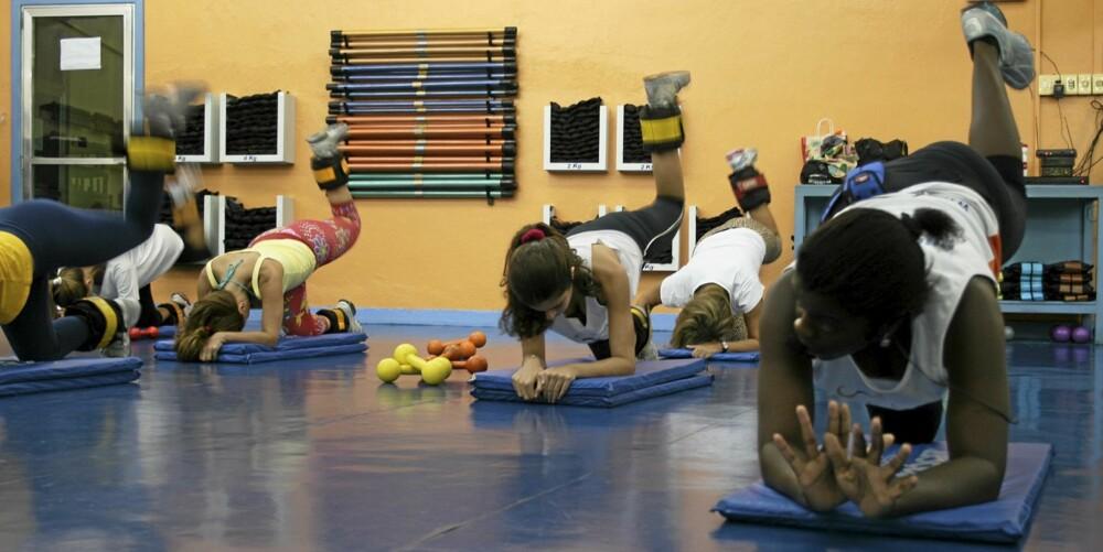 ØVELSE 1: Stå på alle fire, løft det ene benet og press hælen rett opp mot taket. 90 graders knekk fra lår til legg, trekk kneet inn mot magen og gjenta. Bruk gjerne vekter på bena. 15 repetisjoner på hvert ben x 3. Trener gluteus maximus, medius og ryggmusklene.