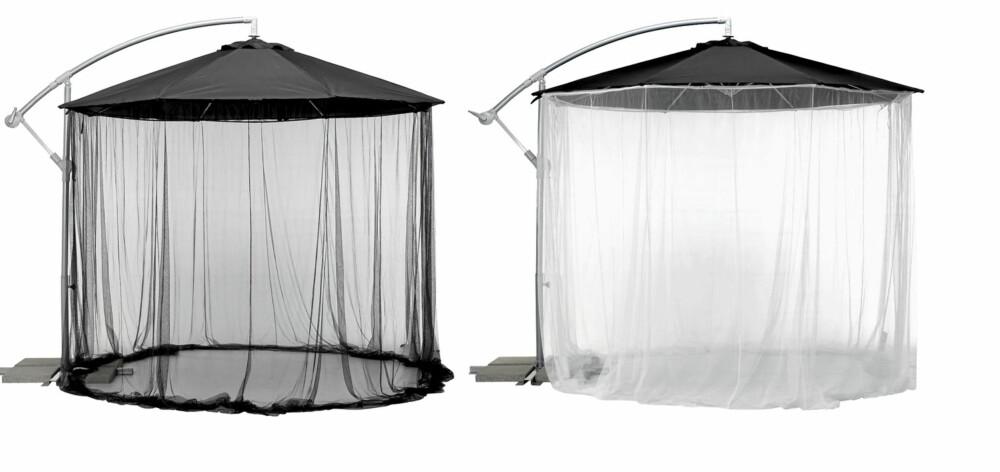 MOT MYGG: Her har den store Ikea-parasollen fått selskap av den skjermende nettgardinen Ikea Karlsø til kr 198.