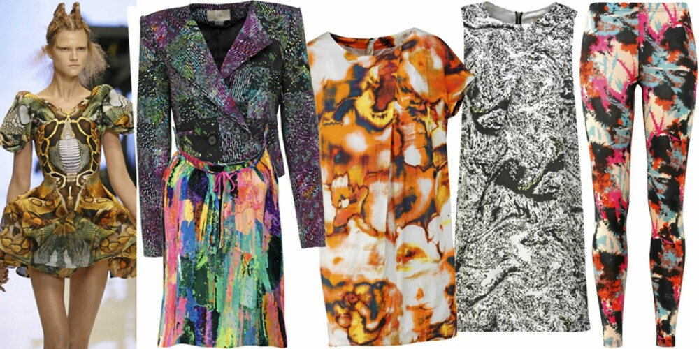 FRA VENSTRE: Fra catwalken til Alexander McQueen, blazer fra HogM (kr 249), singlet fra InWear (kr 499), kjole fra Peak performance (kr 2000), kjole fra HogM (kr 399), tights fra Lindex (kr 199).