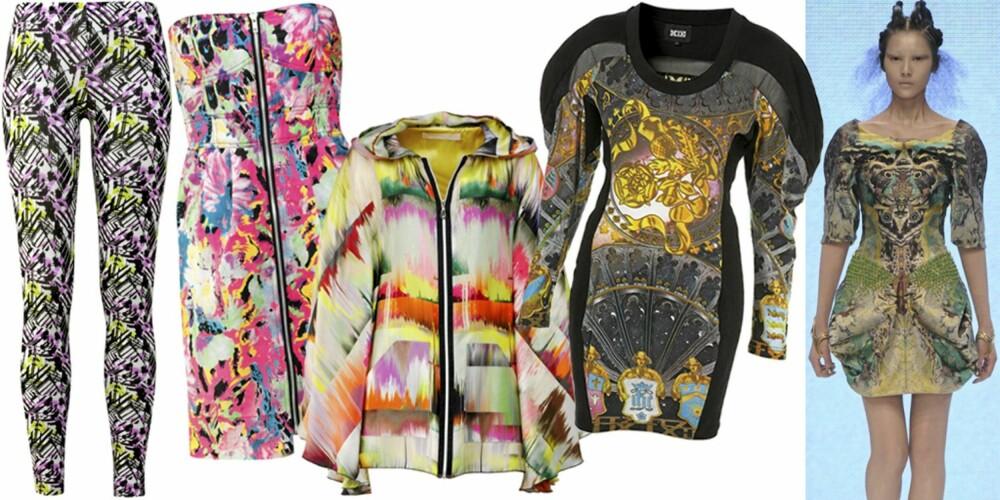 FRA VENSTRE: Tights fra Ellos (kr 149), kjole fra Bik Bok (kr 299), jakke fra TSH (kr 12.000), kjole fra Topshop (kr 1500), fra catwalken til Alexnader McQueen
