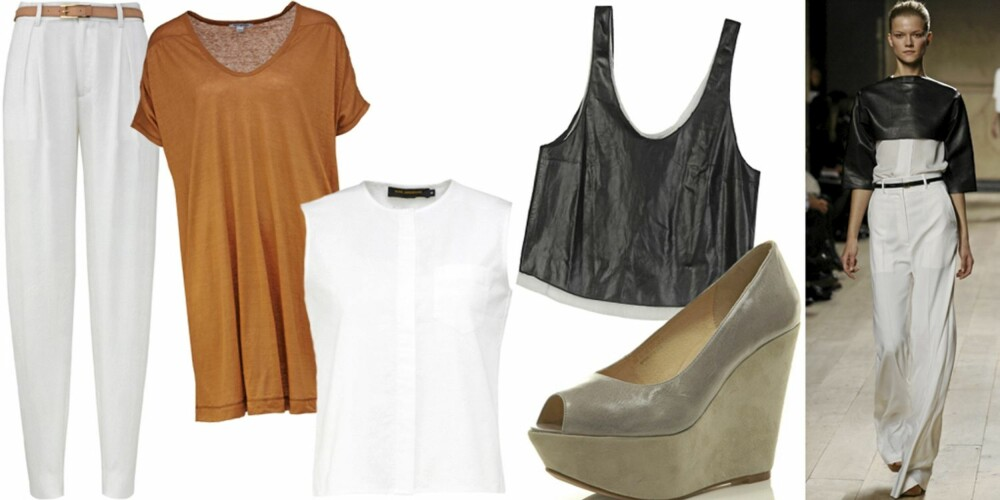 FRA VENSTRE: Bukse fra Whyred (kr 1499), kjole fra Petit Bateau (kr 1049), skjorte fra Nina Jarebrink (kr 499), topp fra Phillip Lim (kr 4500), sko fra Topshop (kr 575), fra catwalken til Celine.