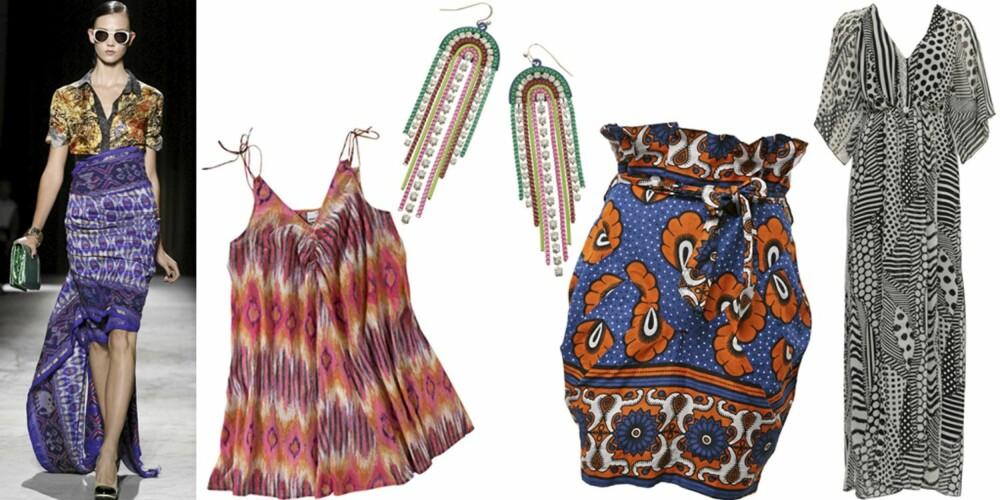 FRA VENSTRE: Fra catwalken til Dries van Noten, singlet fra Gina Tricot (kr 149), øredobber fra Accessorize (kr 140), skjørt fra Asos (kr 400), kjole fra Asos (kr 800).