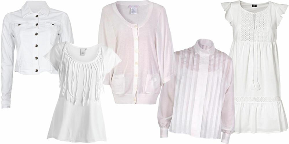 FRA VENSTRE: Jakke fra Cubus (kr 399), topp fra Ellos (kr 149), genser fra Paul & Joe Sister (kr 1150), bluse fra Acne (kr 1300), kjole fra H&M (kr 199).