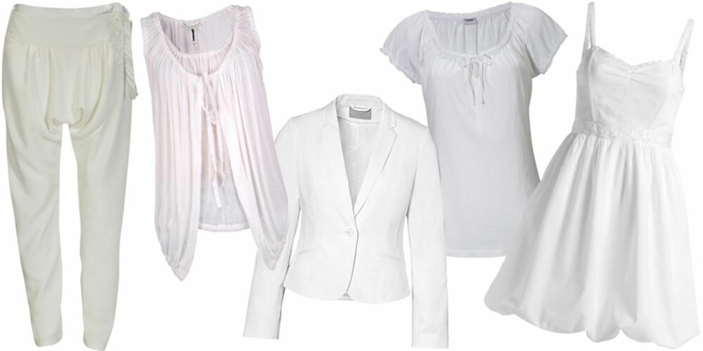 FRA VENSTRE: Haremsbukse fra Roxy (kr 999), vest fra Twenty8Twelve (kr 1150), blazer fra H&M (kr 399), topp fra Esprit (kr 199), kjole fra Ellos (kr 399).