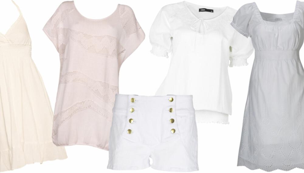 FRA VENSTRE: Kjole fra Saint Tropez (kr 399), topp fra Vila (kr 300), shorts fra Only (kr 300), topp fra Cubus (kr 199), kjole fra Esprit (kr 699).