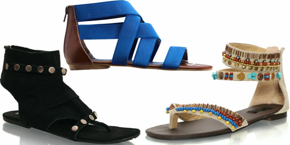 FRA VENSTRE: Vila (kr 349), Bianco (kr 450), Nelly Shoes (kr 199).