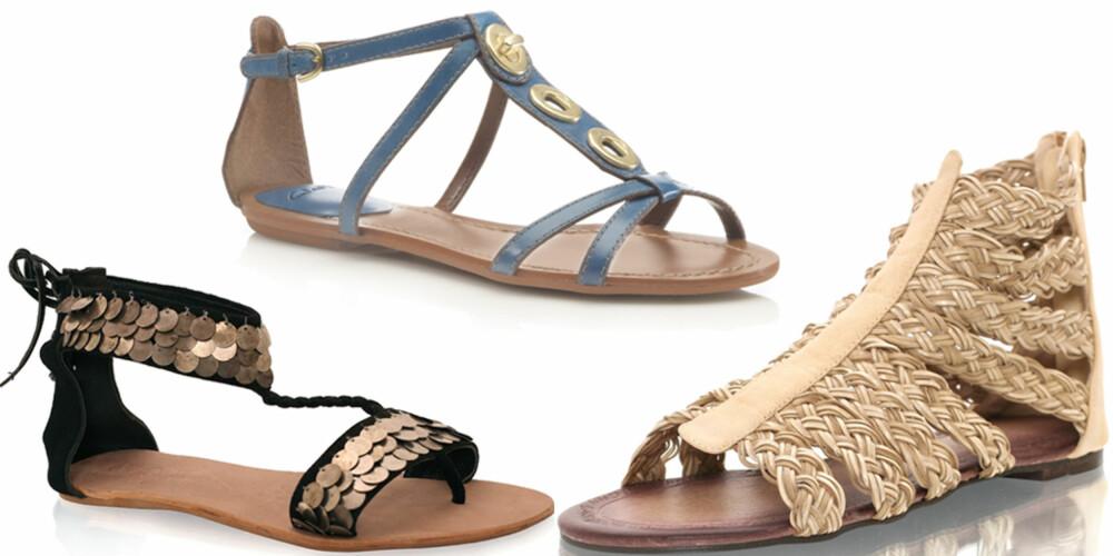 FRA VENSTRE: Mango (kr 599), Clarks (kr 669), Nelly Shoes (kr 199).