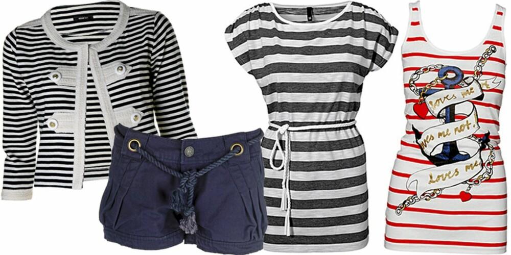 FRA VENSTRE: Jakke fra Mango (kr 499), shorts fra Only (kr 259,95), kjole fra H&M (kr 99), singlet fra H&M (kr 99).
