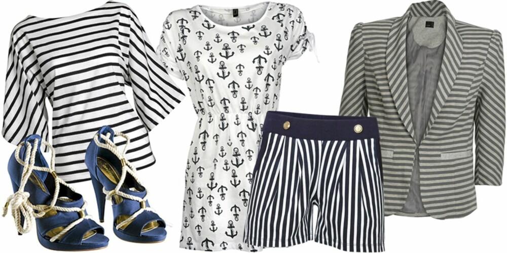 FRA VENSTRE: Topp fra Indiska (kr 149), sko fra H&M (kr 399), kjole fra Only (kr 239,95), shorts fra Vila (kr 199,95), blazer fra Vero Moda (kr 299,95).