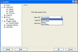 LANGSOM OG STILLE: Med AnyDVD, som er et glitrende program for alle som bruker PC-en til DVD- og Blu-ray-avspilling, kan man regulere hastigheten på DVD-drevet i forhold til om det er en data-, DVD- eller musikk-plate som står i.