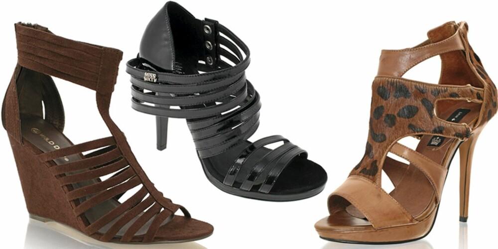 FRA VENSTRE: Nelly Shoes (kr 179), Miss Sixty (kr 1598), Friis og Co (kr 1299).