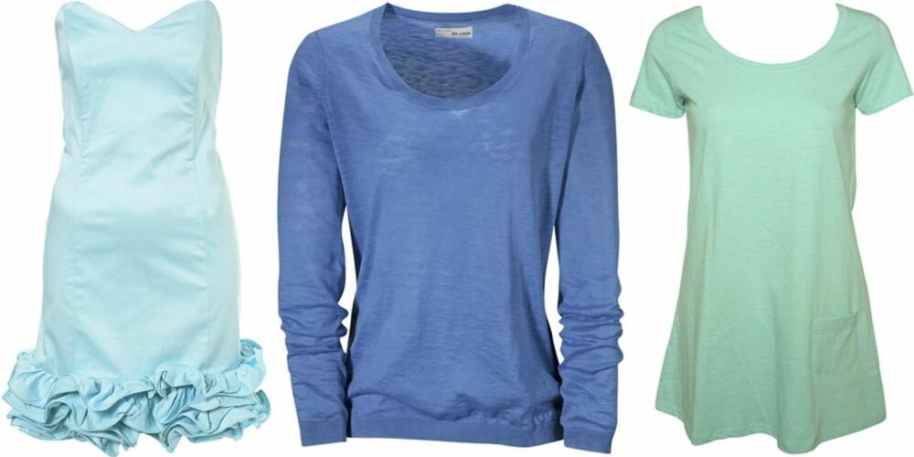 FRA VENSTRE: Kjole fra Topshop (kr 425), genser fra Esprit (kr 299), topp fra Vero Moda (kr 99).