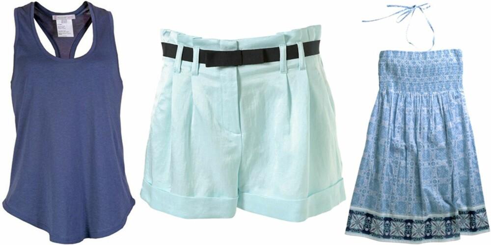 FRA VENSTRE: Singlet fra Paul og Joe Sister (kr 400), shorts fra Topshop (kr 305), kjole fra Ellos (kr 99).