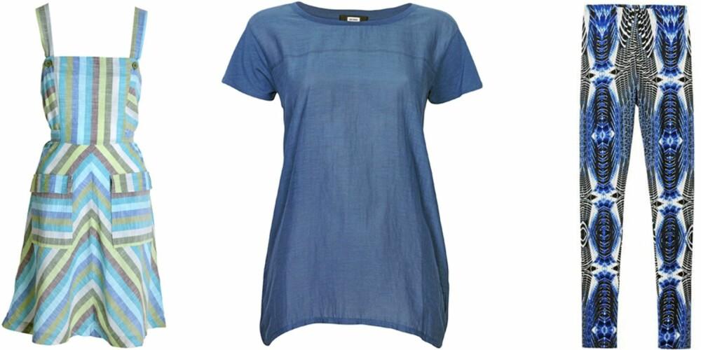 FRA VENSTRE: Kjole fra Indiska (kr 249), T-skjorte fra Bik Bok (kr 199), tights fra HogM (kr 149).