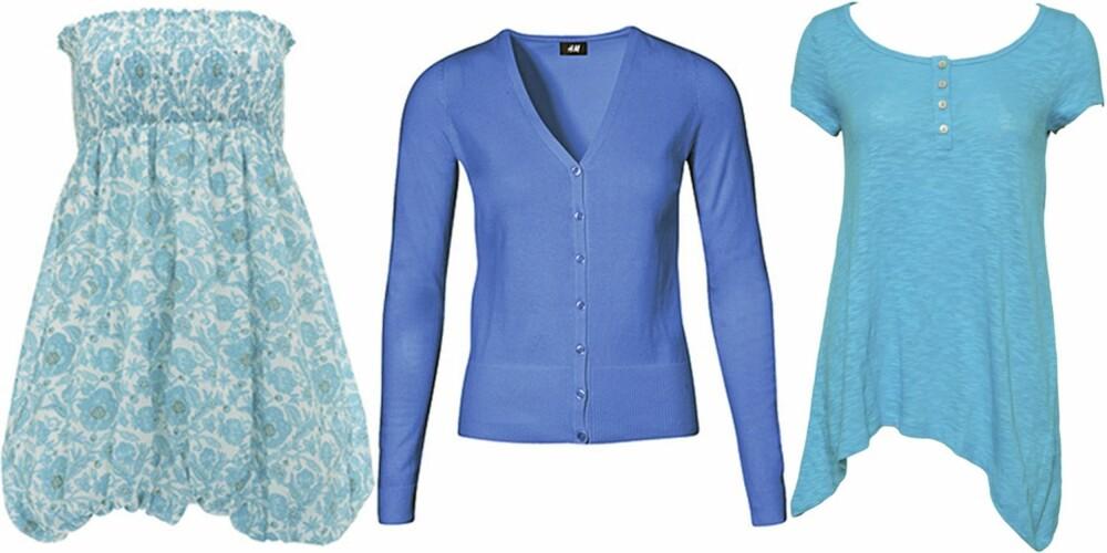 FRA VENSTRE: Kjole fra Warehouse (kr 285), kardigan fra HogM (kr 149), topp fra Only (kr 129).