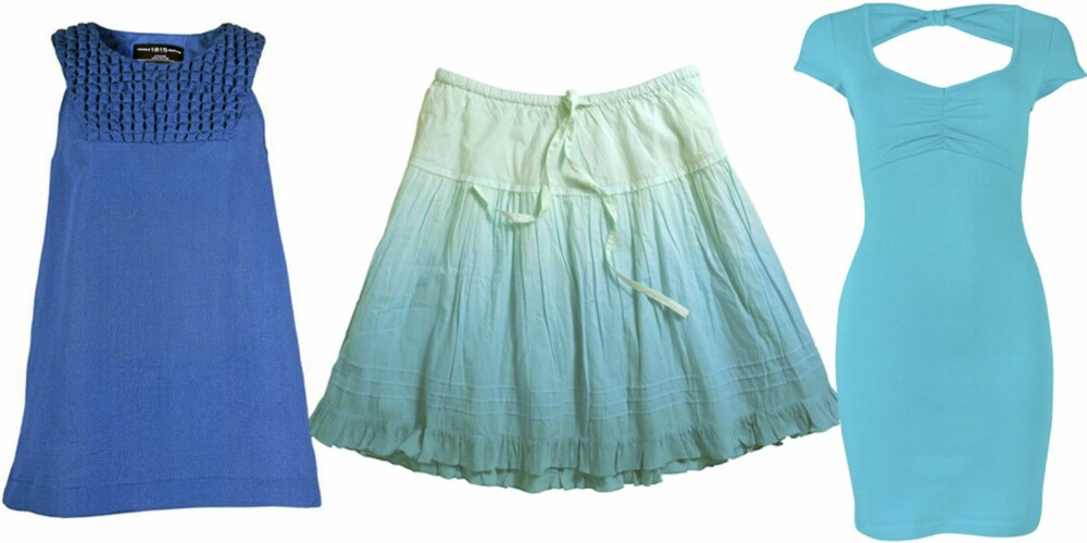 FRA VENSTRE: Topp fra Pringle 1815 (kr 2000), skjørt fra Ellos (kr 129), kjole fra Bik Bok (kr 199).