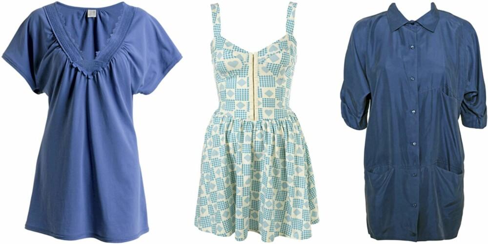 FRA VENSTRE: Topp fra Ellos (kr 149), kjole fra Topshop (kr 236), skjorte fra gestuz (kr 999).