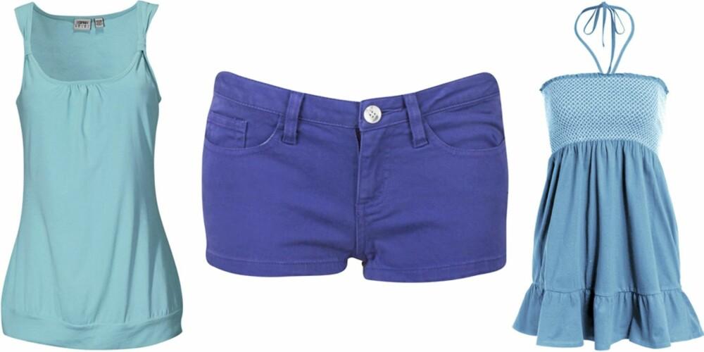 FRA VENSTRE: Topp fra Esprit (kr 149), shorts fra Bik Bok (kr 149), topp fra Sara Kelly (kr 149).