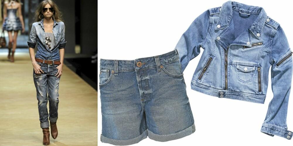FRA VENSTRE: Catwalken til D&G, shorts fra Topshop (kr 279), jakke fra H&M (kr 179).