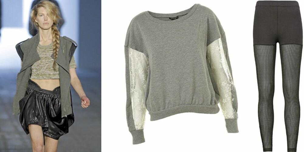 FRA VENSTRE: Catwalken til Alexander Wang, genser fra Topshop (kr 260), tights fra H&M (kr 199).