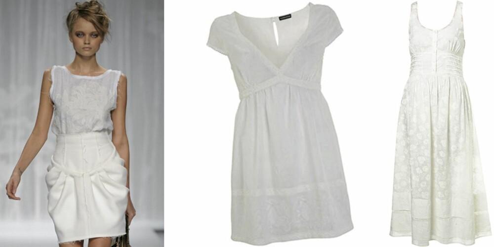 FRA VENSTRE: Catwalken til Fendi, kort kjole fra Warehouse (kr 325), lang kjole fra Topshop (kr 419).