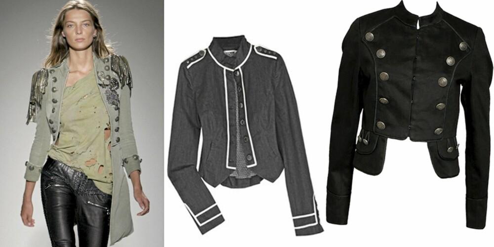 FRA VENSTRE: Catwalken til Balmain, jakke fra Alice by Temperley (kr 2741), jakke fra Vila (kr 459).