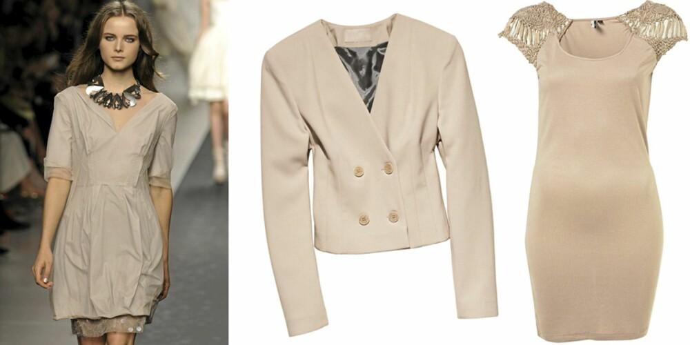 FRA VENSTRE: Catwalken til Sportmax, blazer fra H&M (kr 499), kjole fra Topshop (kr 419).